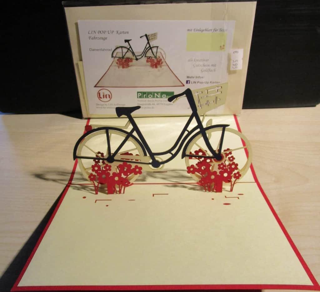 3D-Glückwunschkarte Motiv Fahrrad - fair produziert