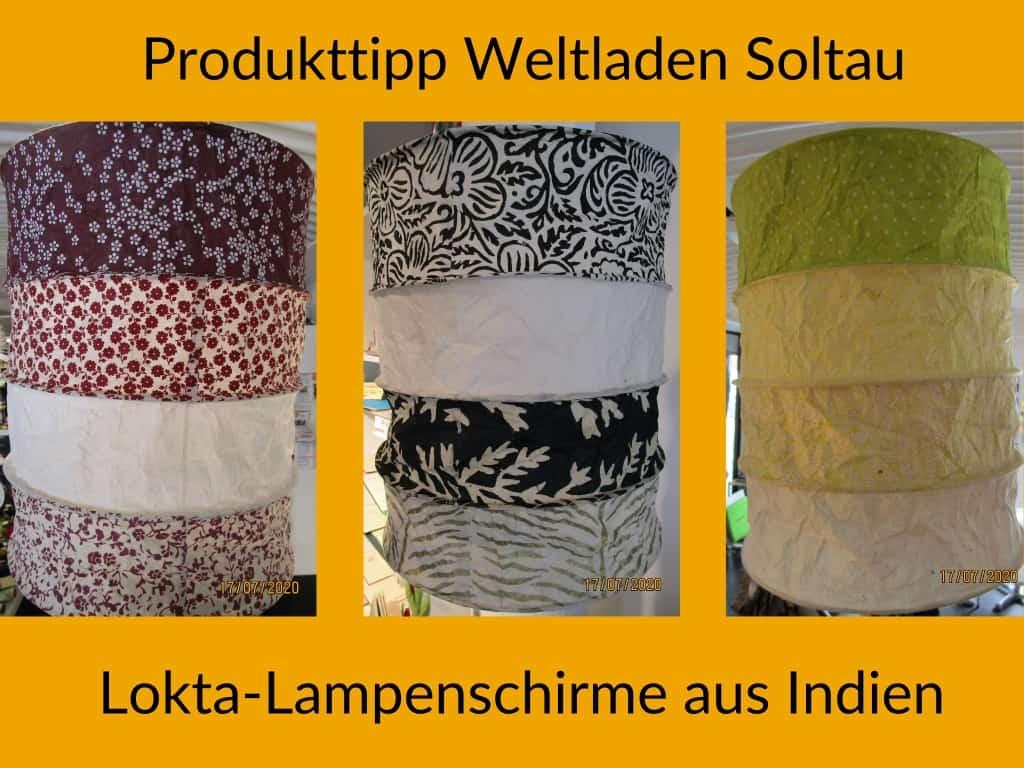 Im Weltladen Soltau: Lokta-Lampenschirme aus Indien