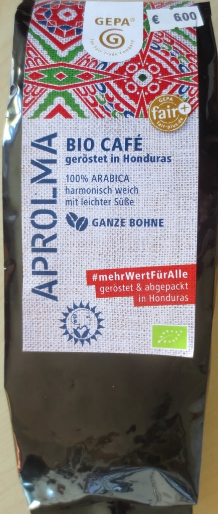 Aprolma Biocafé, geröstet und verpackt im Ursprungsland Honduras - erhältich im Weltladen Soltau