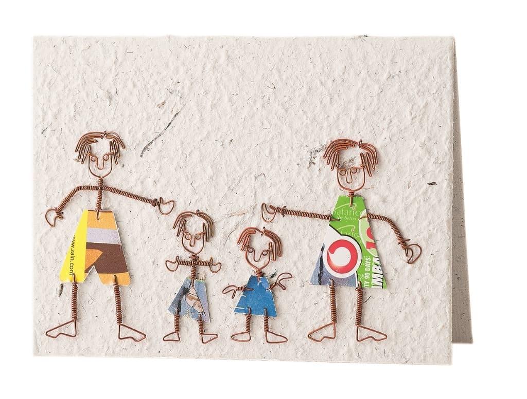 Fair gehandelte Grußkarte von KICK Trading aus Kenia, Motiv Familie