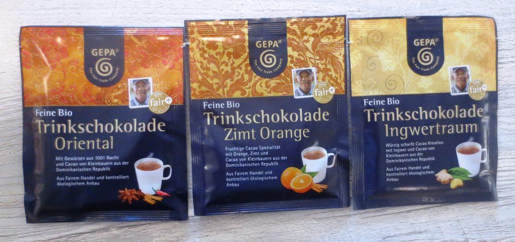 Gepa-Bio-Trinkschokolade in drei Geschmacksrichtungen: Oriental, Zimt-Orange und Ingwer