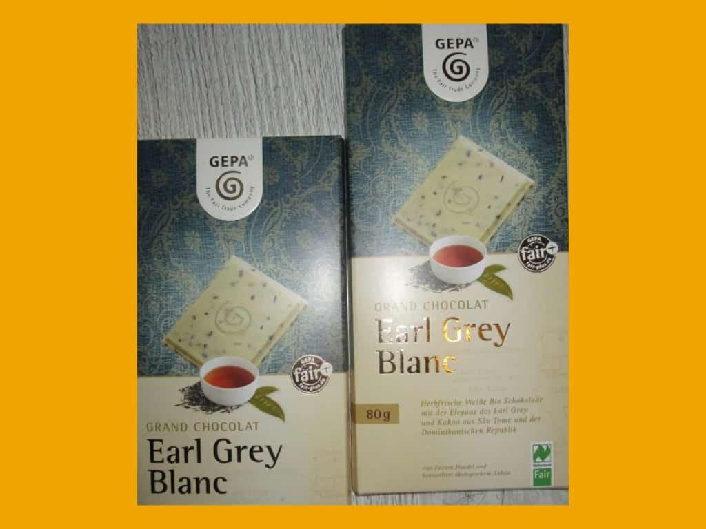 GEPA Grand Chocolat Earl Grey Blanc im Weltladen Soltau