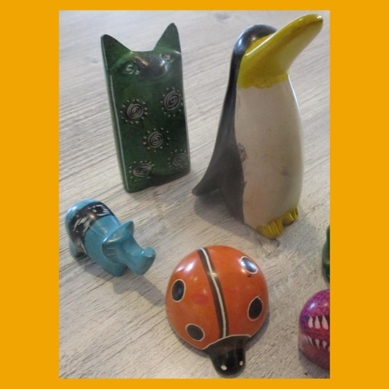 Hübsche, bunte Tierfiguren aus Speckstein